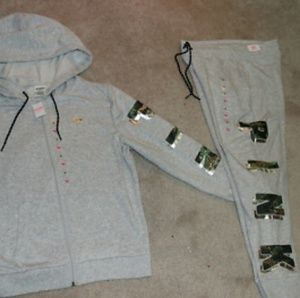 New Release VS Pink Gray bling hoodie & jogger set